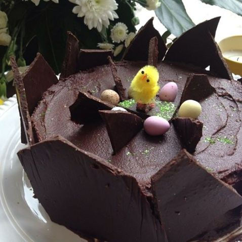 Easter chocolate cake with baby chick