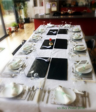 Table Set up for Demo & Dine