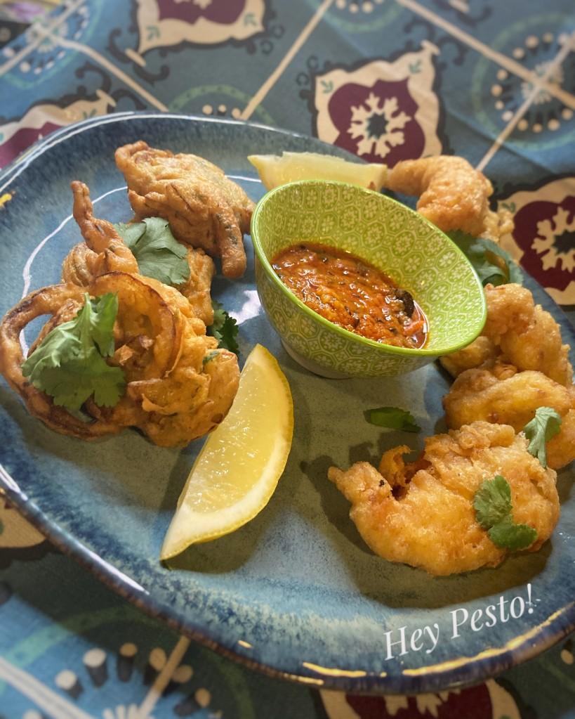 Onion bhajis and fish pakoras